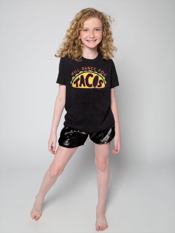 "Black T-shirt: Boyfriend Tee ""Will Dance for Tacos"" by Sugar and Bruno Apparel"