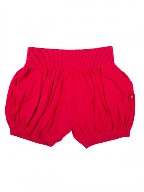 Red Sweater Shorts: Bubbles in Lollipop Red by Sugar and Bruno Apparel in Indianapolis, IN