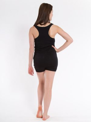 Black Shorts Romper: Short Romper in Black by Sugar and Bruno Apparel in Indianapolis, IN