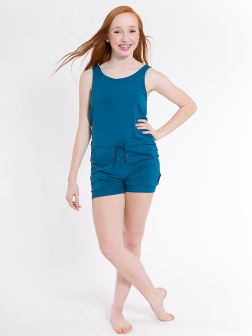 Blue Shorts Romper: Romper in Peacock Blue by Sugar and Bruno Apparel in Indianapolis, IN