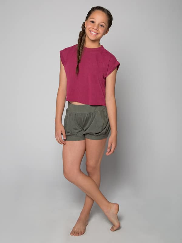 Pink Crop Top: Boss Crop in Raspberry by Sugar and Bruno Apparel in Indianapolis, IN