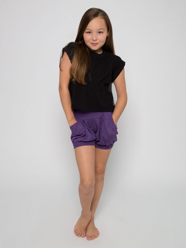 Purple Sweater Shorts: Bubbles in Purple Rain by Sugar and Bruno Apparel in Indianapolis, IN