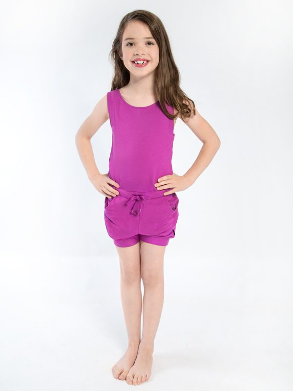 Purple Shorts Romper: Romper in Raspberry by Sugar and Bruno Apparel in Indianapolis, IN