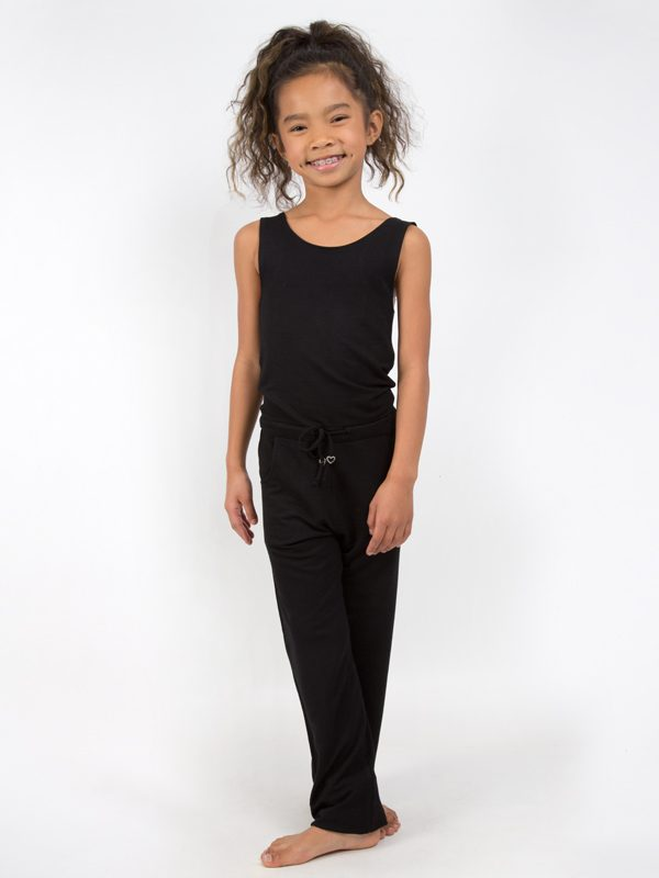 Black Jumpsuit Romper: Full Length Romper in Black by Sugar and Bruno Apparel in Indianapolis, IN