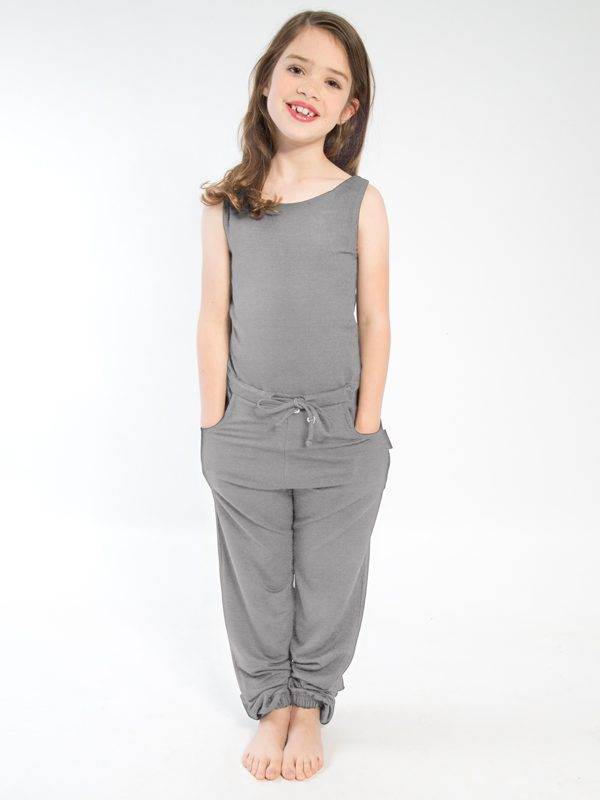 Gray Jumpsuit Romper: Full Length Romper in Gray by Sugar and Bruno Apparel in Indianapolis, IN