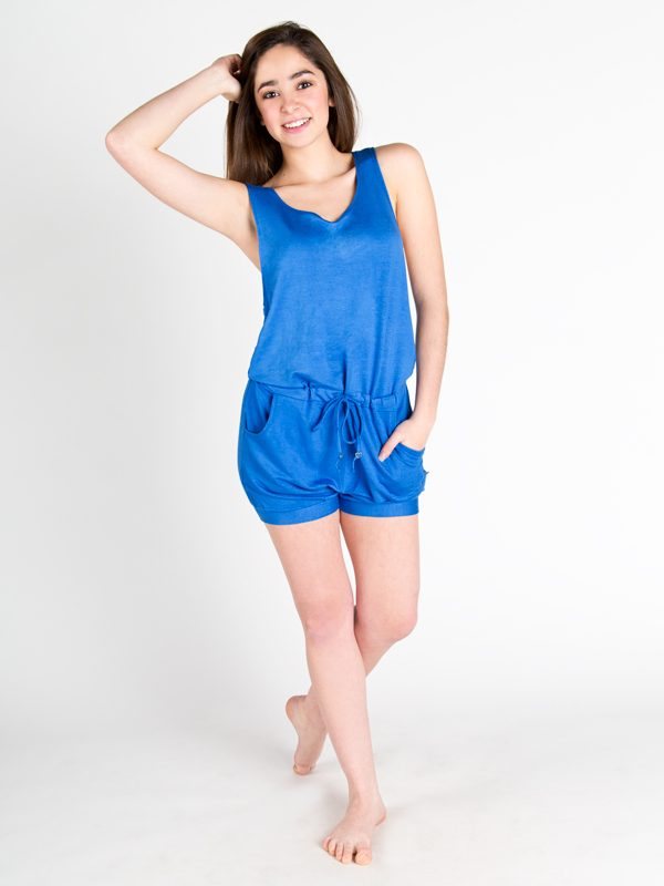 Blue Shorts Romper: Lightweight Romper in Blue by Sugar and Bruno Apparel in Indianapolis, IN
