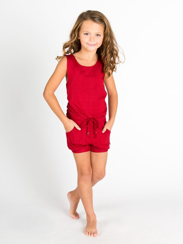 Red Shorts Romper: Lightweight Romper in Red by Sugar and Bruno Apparel in Indianapolis, IN