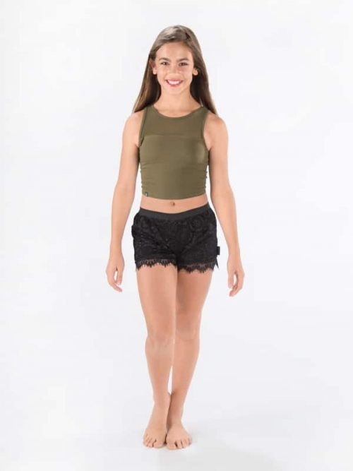 Green Dance Crop Top: Stretchy Mesh Crop in Army by Sugar and Bruno Apparel in Indianapolis, IN