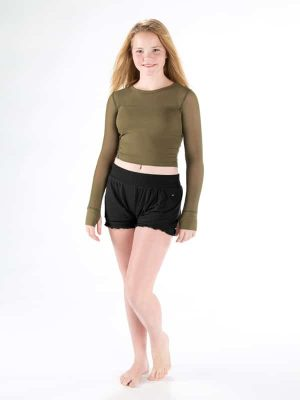 Green Long Sleeve Crop Top: Stretchy Mesh Long Sleeve in Army by Sugar and Bruno Apparel in Indianapolis, IN