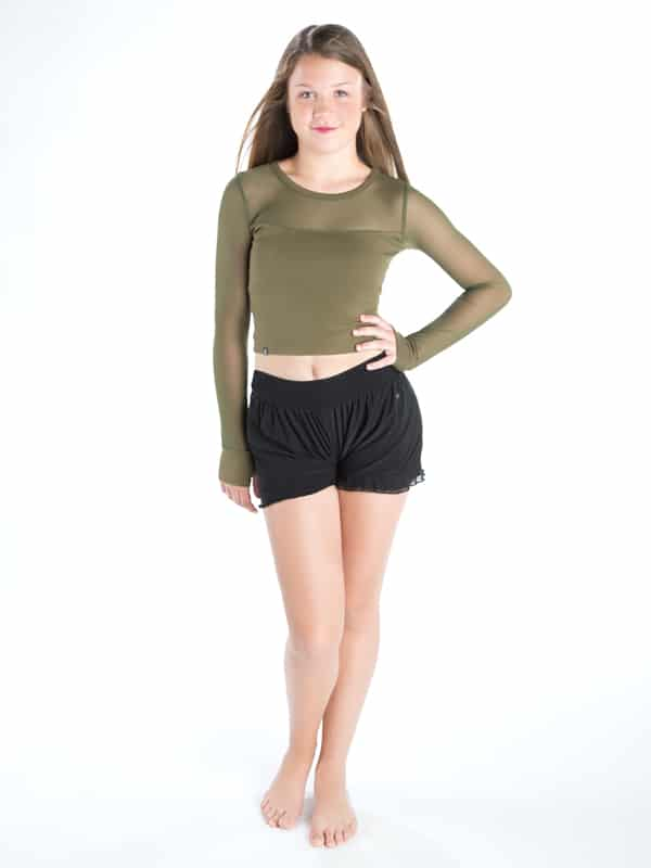 f4e959d3fef05 Green Long Sleeve Crop Top  Stretchy Mesh Long Sleeve in Army by Sugar and  Bruno