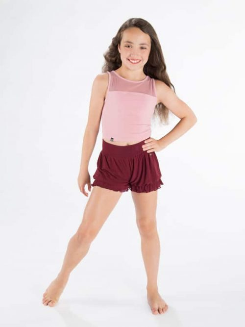 Pink Dance Crop Top: Stretchy Mesh Crop in Mauve by Sugar and Bruno Apparel in Indianapolis, IN