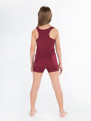Red Shorts Romper: Lightweight Romper in Burgundy by Sugar and Bruno Apparel in Indianapolis, IN