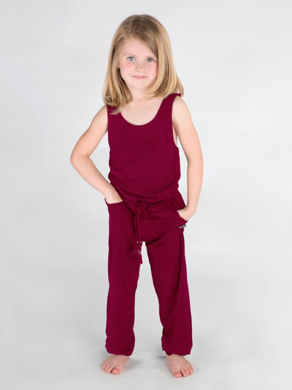 Red Jumpsuit Romper: Full Length Romper in Burgundy by Sugar and Bruno Apparel in Indianapolis, IN