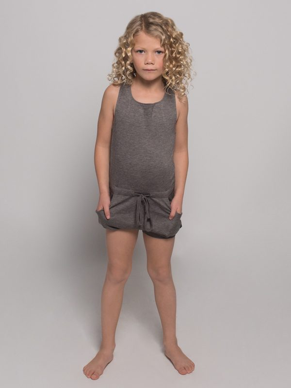 Gray Shorts Romper: Lightweight Romper in Steel Gray by Sugar and Bruno Apparel in Indianapolis, IN