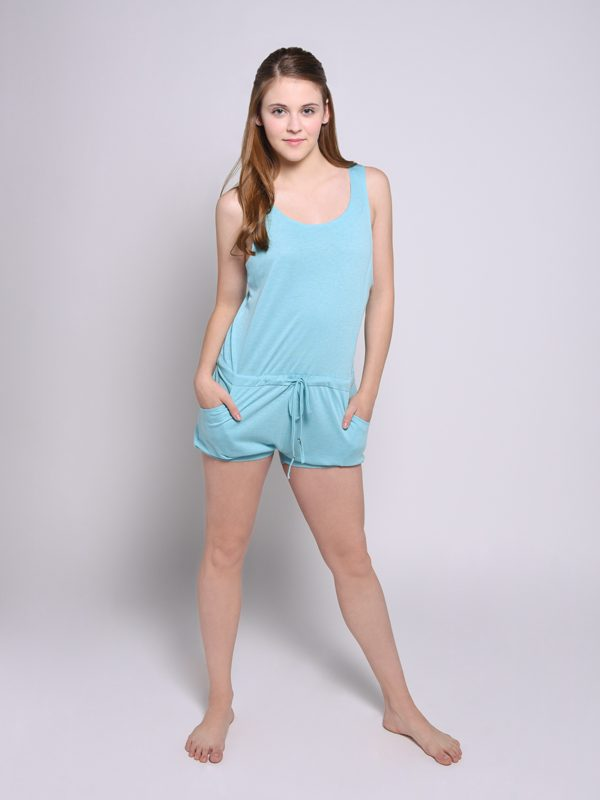 Blue Shorts Romper: Lightweight Romper in Ocean by Sugar and Bruno Apparel in Indianapolis, IN
