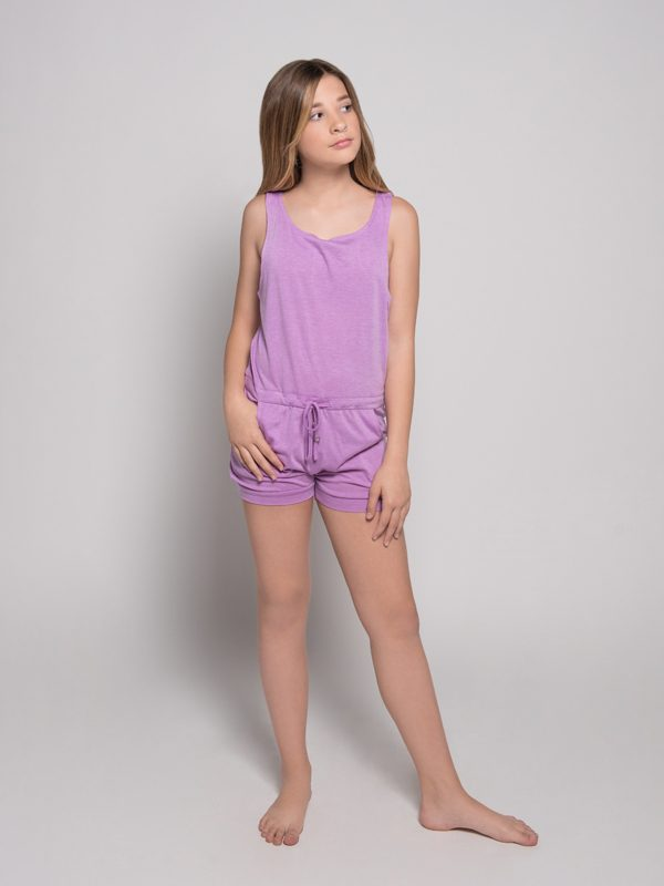 Purple Shorts Romper: Lightweight Romper in Orchid by Sugar and Bruno Apparel in Indianapolis, IN