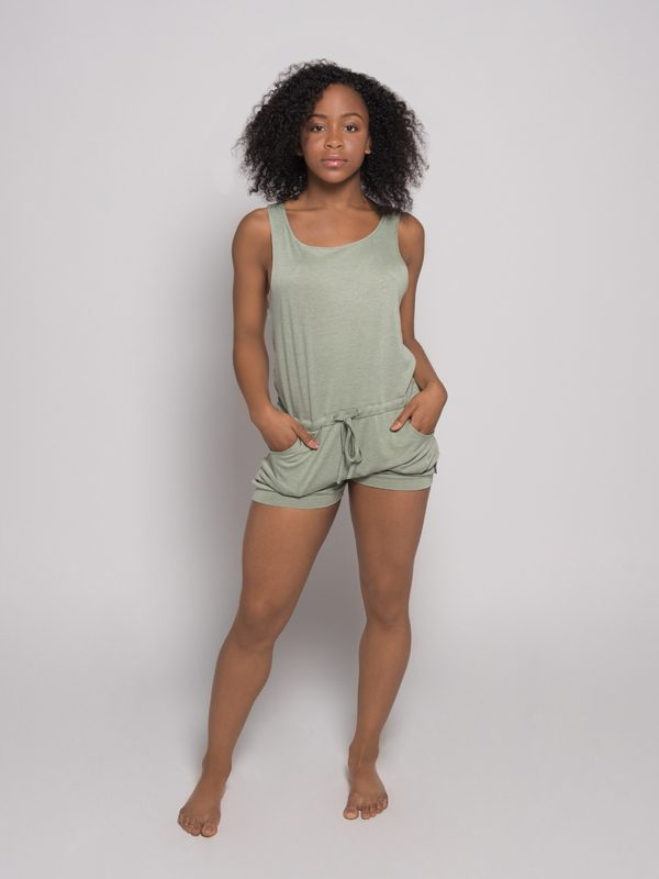 Green Shorts Romper: Lightweight Romper in Aloe by Sugar and Bruno Apparel in Indianapolis, IN