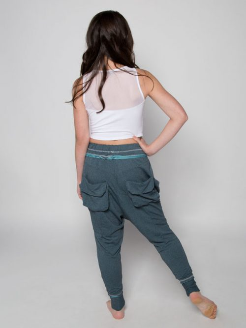 Blue Harem Pants: Shadow Blue Harem Pants by Sugar and Bruno Apparel in Indianapolis, IN