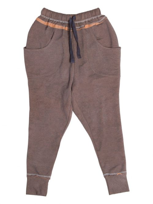 Brown Harem Pants: Shadow Brown Harem Pants by Sugar and Bruno Apparel in Indianapolis, IN
