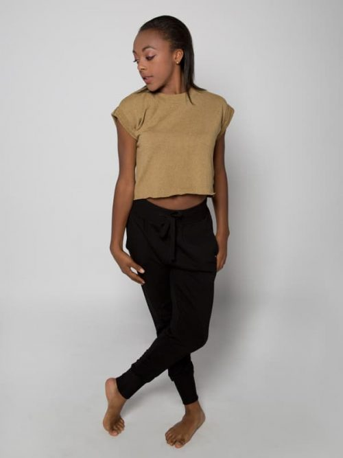 Yellow Crop Top: Boss Crop in Mustard by Sugar and Bruno Apparel in Indianapolis, IN
