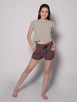 Tan Crop Top: Boss Crop in Oatmeal by Sugar and Bruno Apparel in Indianapolis, IN