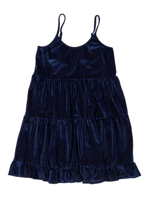 Navy Velvet Dress: Casual Fancy G Dress in Navy Gina Pero for Sugar and Bruno Apparel in Indianapolis, IN