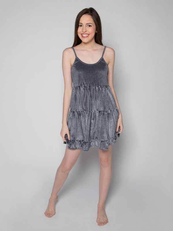 Gray Velvet Dress: Casual Fancy G Dress in Grey by Gina Pero for Sugar and Bruno Apparel in Indianapolis, IN