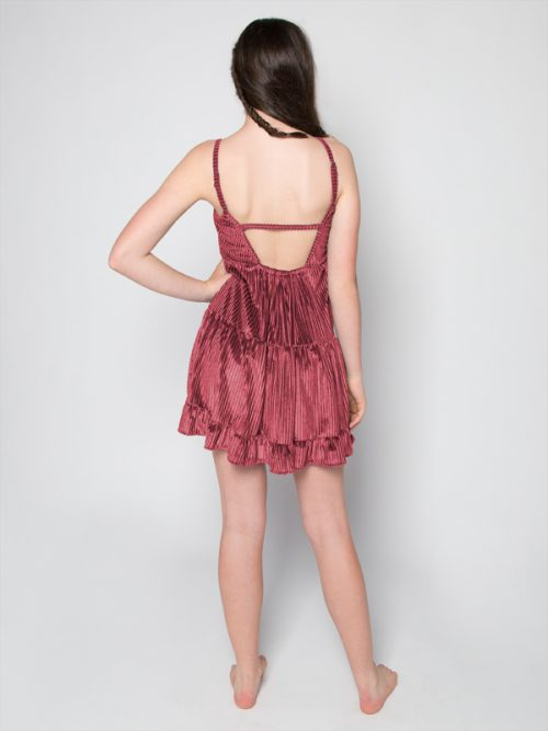 Pink Velvet Dress: Casual Fancy G Dress in Mauve Gina Pero for Sugar and Bruno Apparel in Indianapolis, IN