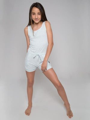 Blue Shorts Romper: Lightweight Romper in Sky by Sugar and Bruno Apparel in Indianapolis, IN
