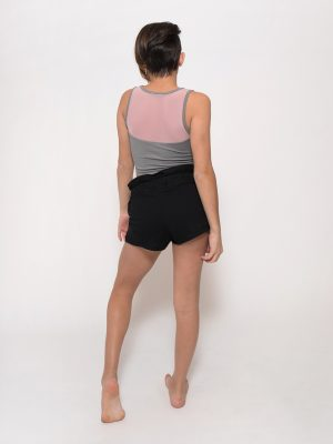 Gray Dance Crop Top: Stretchy Mesh Crop in Ballet Pink by Sugar and Bruno Apparel in Indianapolis, IN