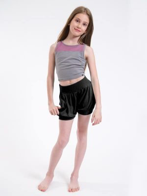 Purple Dance Crop Top: Stretchy Mesh Crop in Violet by Sugar and Bruno Apparel in Indianapolis, IN