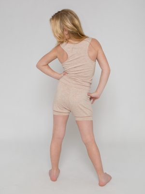 Tan Shorts Romper: Lightweight Romper in Sand by Sugar and Bruno Apparel in Indianapolis, IN