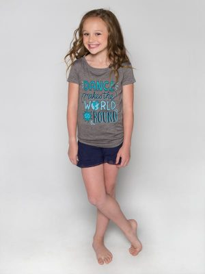 "Gray Dance Shirt: ""Dance Makes The World Go Round"" by Sugar and Bruno Apparel"