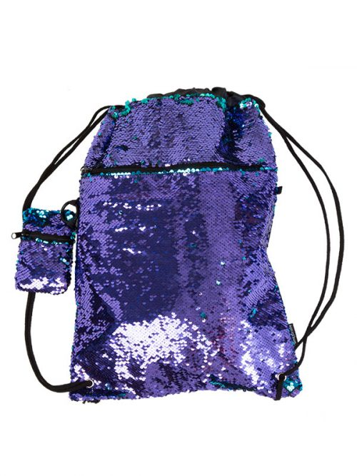 Purple Sequin Backpack: Mermaid Bag in Purple by Sugar and Bruno Apparel in Indianapolis, IN