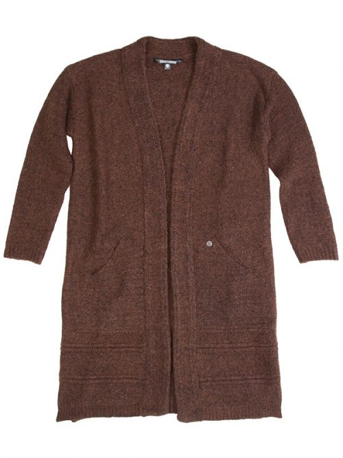 Brown Cardigan: The Sophia Sweater in Brown by Sugar and Bruno Apparel in Indianapolis, IN