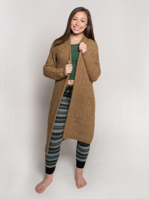 Camel Cardigan: The Sophia Sweater in Camel by Sugar and Bruno Apparel in Indianapolis, IN