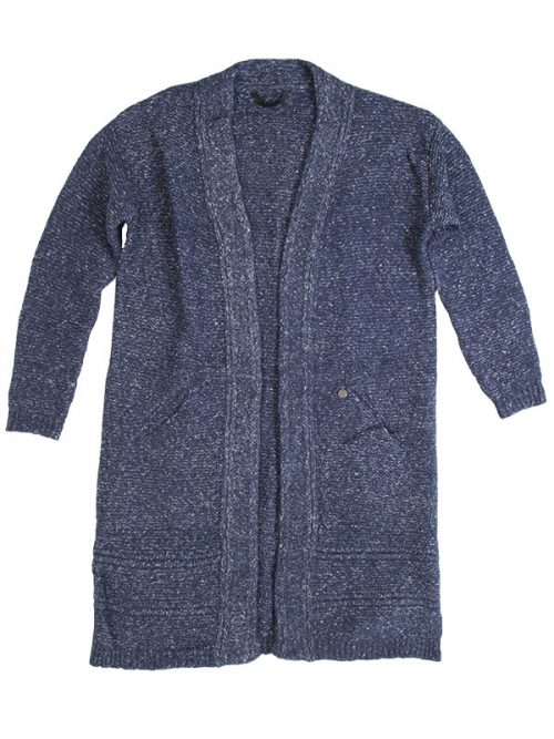 Blue Cardigan: The Sophia Sweater in Denim Blue by Sugar and Bruno Apparel in Indianapolis, IN