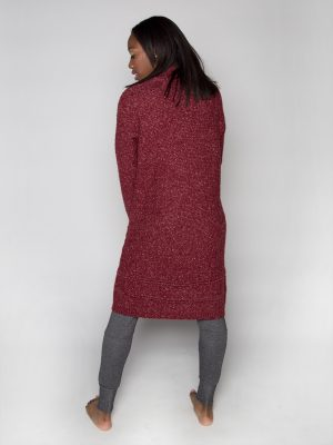 Maroon Cardigan: The Sophia Sweater in Canyon Rose by Sugar and Bruno Apparel in Indianapolis, IN