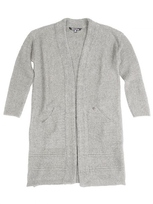 Gray Cardigan: The Sophia Sweater in White Marble by Sugar and Bruno Apparel in Indianapolis, IN