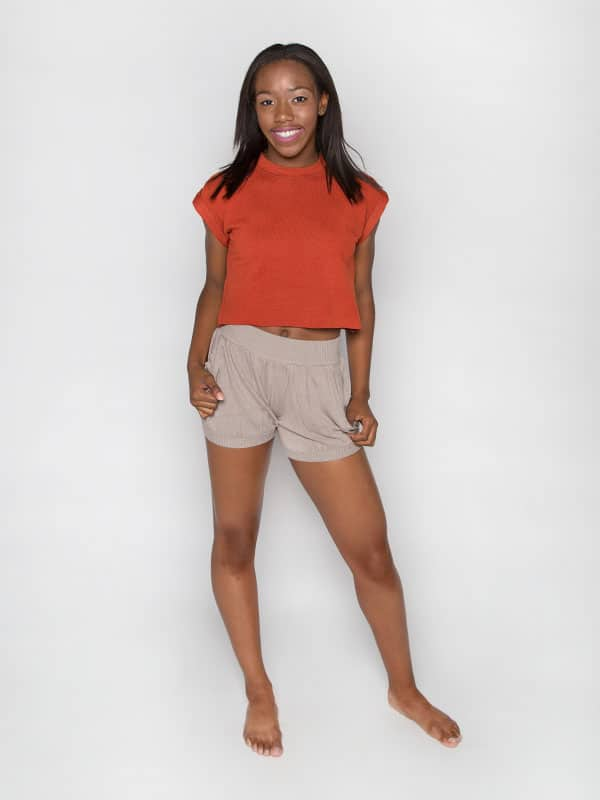 Orange Crop Top: Boss Crop in Burnt Orange by Sugar and Bruno Apparel in Indianapolis, IN