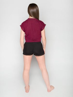 Burgundy Crop Top: Boss Crop in Burgundy by Sugar and Bruno Apparel in Indianapolis, IN