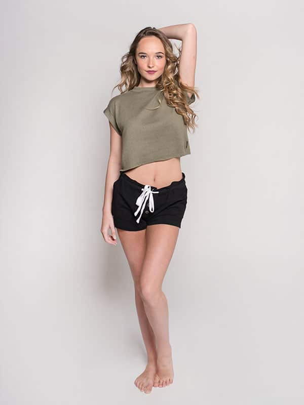Green Crop Top: Boss Crop in Sage by Sugar and Bruno Apparel in Indianapolis, IN