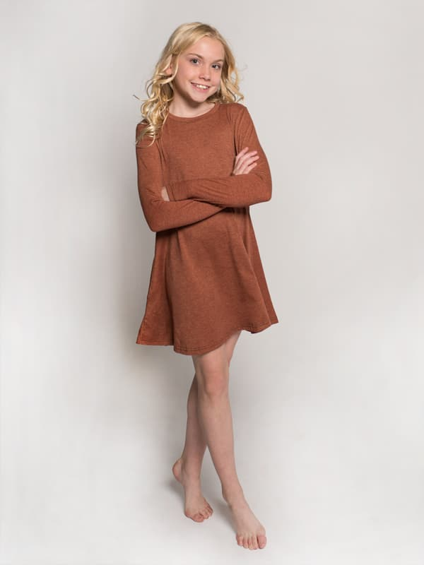 Orange Dress: Swing Dress in Canyon Rose by Sugar and Bruno Apparel in Indianapolis, IN