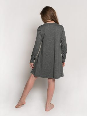 Long Sleeve Dress: Swing Dress in Denim Blue by Sugar and Bruno Apparel in Indianapolis, IN