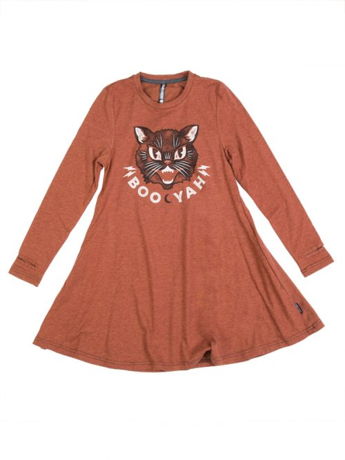 Halloween Dress: Boo Yah Black Cat Swing Dress by Sugar and Bruno Apparel in Indianapolis, IN